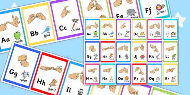 British Sign Language Alphabet Display Borders - display, borders