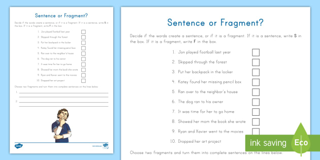Sentence or Fragment? Worksheet / Worksheet - Sentence, Fragment ...
