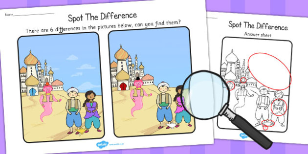 Aladdin Spot the Difference Activity - spot, difference, aladdin