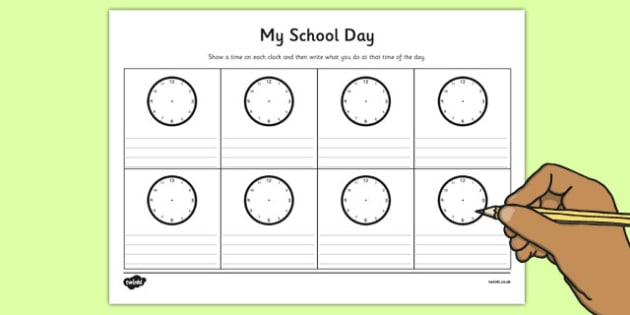 My School Day Worksheet - timetable, daily routine, transition
