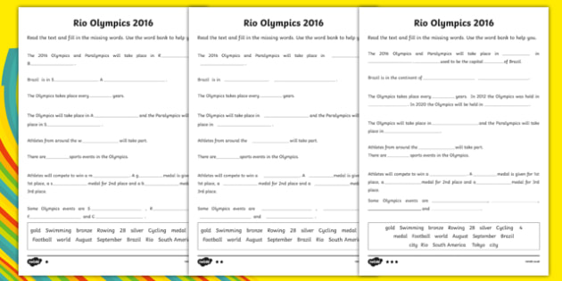 Rio Olympics 2016 SEN Cloze Differentiated Activity Sheet Pack, worksheet