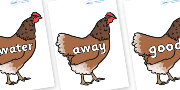 Next 200 Common Words on Hens - Next 200 Common Words on  - DfES Letters and Sounds, Letters and Sounds, Letters and sounds words, Common words, 200 common words