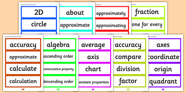 Year 6 2014 National Curriculum Maths Vocabulary Cards Resource Pack