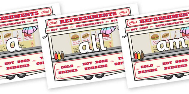 Foundation Stage 2 Keywords on Fairground Food Vans - FS2, CLL, keywords, Communication language and literacy,  Display, Key words, high frequency words, foundation stage literacy, DfES Letters and Sounds, Letters and Sounds, spelling