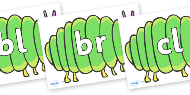 Initial Letter Blends on Fat Caterpillars to Support Teaching on The Very Hungry Caterpillar - Initial Letters, initial letter, letter blend, letter blends, consonant, consonants, digraph, trigraph, literacy, alphabet, letters, foundation stage liter
