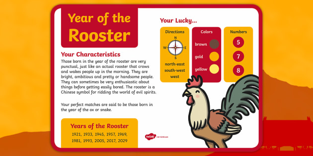 chinese new year year of the rooster large information poster - Chinese New Year 2005