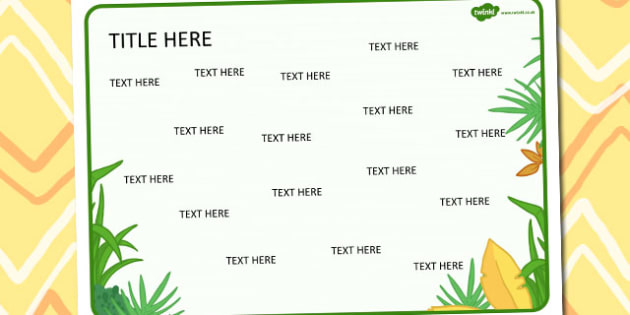 Jungle Themed Editable Word Mat - jungle, editable, word mat