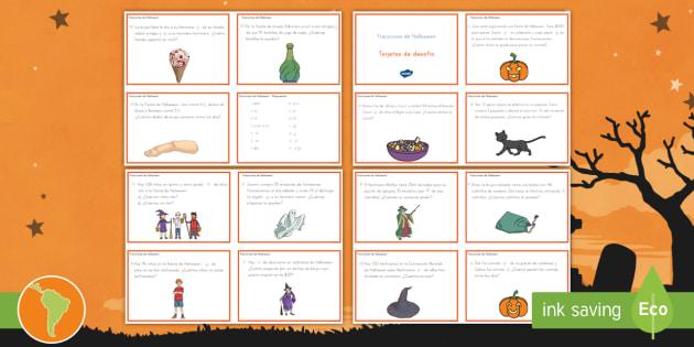 Tarjetas de desafío: Fracciones de Halloween - Fracciones