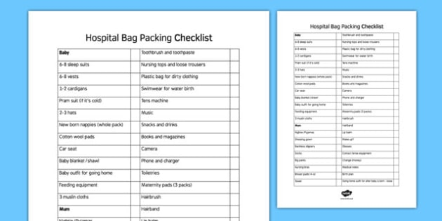 New Mums Hospital Bag Checklist - hospital bag, checklist, hospital, bag, new mum