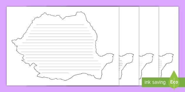 Harta României Cu Diferite Tipuri De Liniatură Pagini De