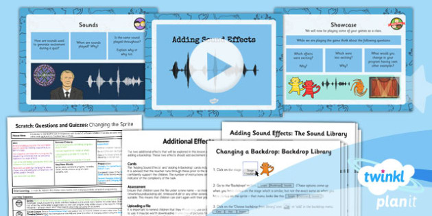 Computing: Scratch Questions and Quizzes: Additional Effects Year 4 Lesson Pack 4