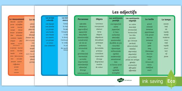 set de mots   les adjectifs  les adverbes et les verbes
