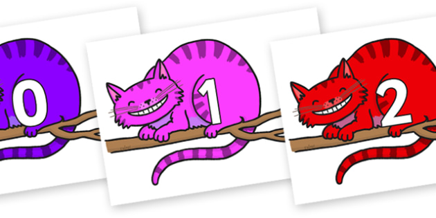 Numbers 0-100 on Cheshire Cats - 0-100, foundation stage numeracy, Number recognition, Number flashcards, counting, number frieze, Display numbers, number posters