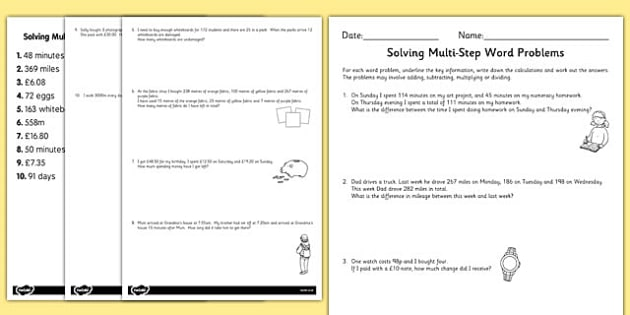 Differentiated Two Step Maths Word Problems Worksheet Activity