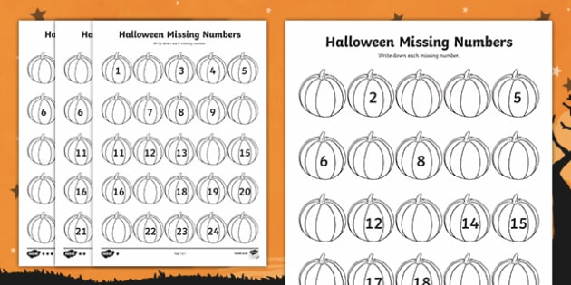 Halloween Themed Missing Numbers to 50 Activity Sheet