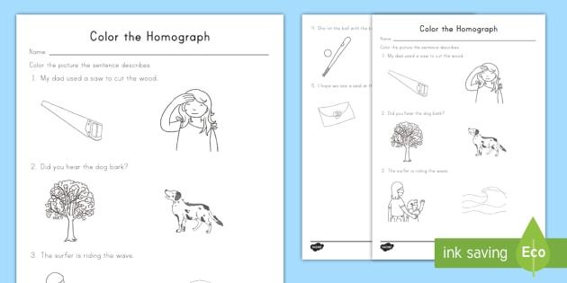 Color The Correct Homograph Worksheet Activity Sheet