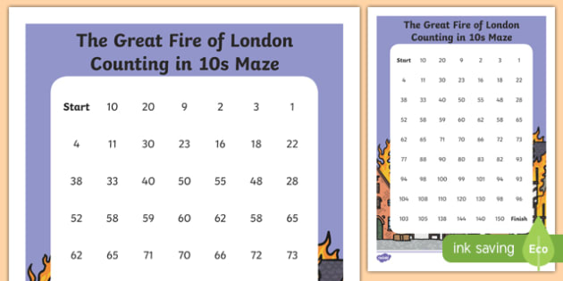 The Great Fire of London Counting in 10s Maze Activity Sheet, worksheet