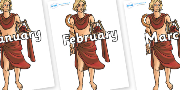 Months of the Year on Apollo - Months of the Year, Months poster, Months display, display, poster, frieze, Months, month, January, February, March, April, May, June, July, August, September