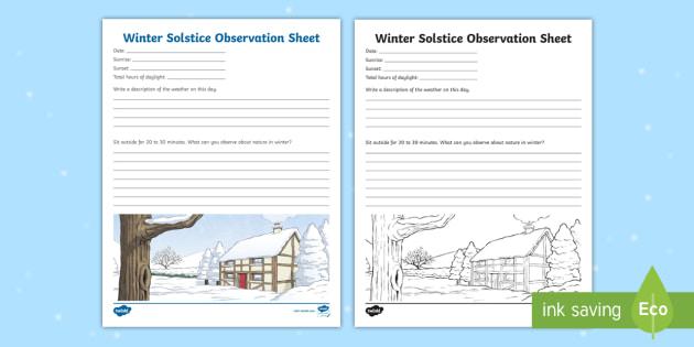winter solstice observation worksheet worksheet worksheet seasons. Black Bedroom Furniture Sets. Home Design Ideas