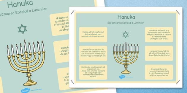 Hanuka - Poster informativ - Hannukah, poster, informativ, cultura, iudaică, iudaism, religie, religii, cultură generală, romanian, materiale, materiale didactice, română, romana, material, material didactic