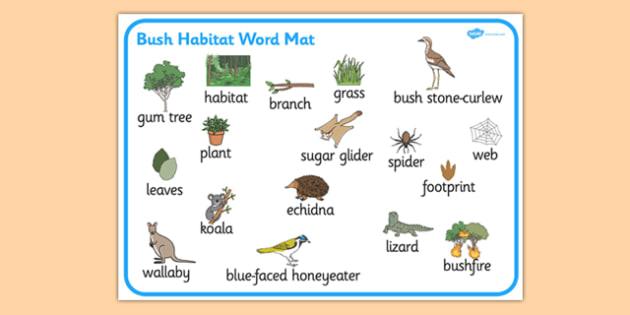 Bush Habitat Word Mat - australia, Science, Year 1, Habitats, Australian Curriculum, Bush, Living, Living Adventure, Environment, Living Things, Animals, Plants, Word Mat