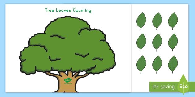 Tree leaves Counting Worksheet / Activity Sheet - Ladybug Spot