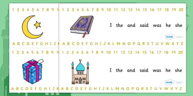 Eid Combined Number Alphabet Strips - Eid, combined number alphabet strips, eid alphabet strips, eid number strips, eid themed, number alphabet strip