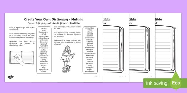 Matilda Key Vocabulary Create Your Own Dictionary English/Romanian