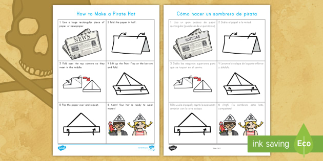 How to Make a Pirate Hat Instruction Worksheet / Worksheet