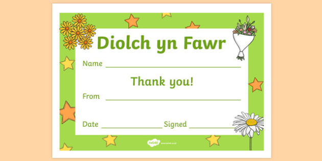 Thank You Certificates-Welsh