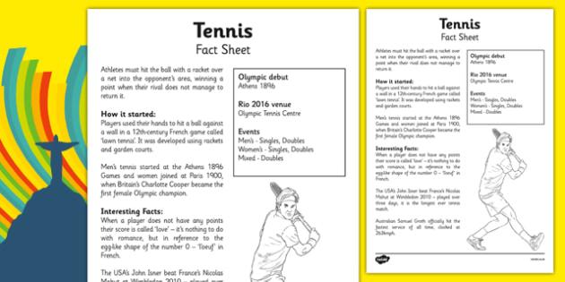 The Olympics Tennis Fact Sheet the olympics rio olympics rio – Tennis Score Sheet