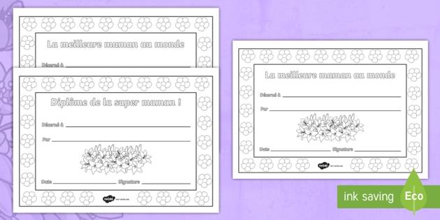 Coloriage Fete Des Mere Diplome.Feuilles De Coloriage Diplomes De La Fete Des Meres Diplomes De La