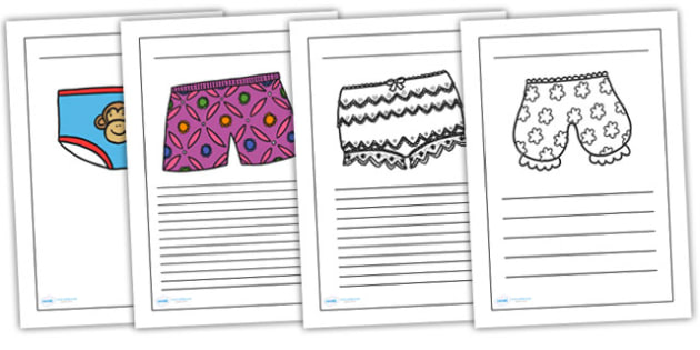 Writing Frames to Support Teaching on Pants - pants, writing frames, writing aids, writing guides, lined guides, line guides, lined pages, themed writing frames, colour and write