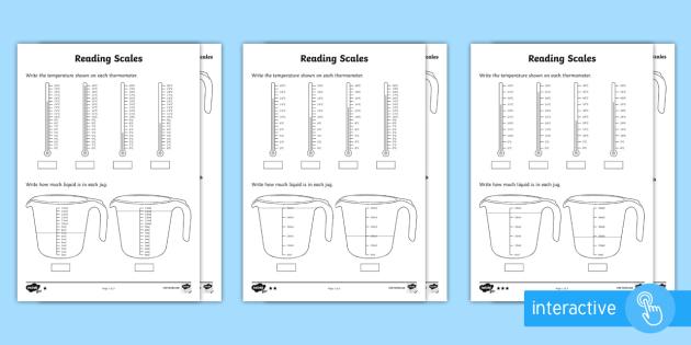 Year 2 Maths Reading Scales Homework Worksheet - year 2, maths, homework