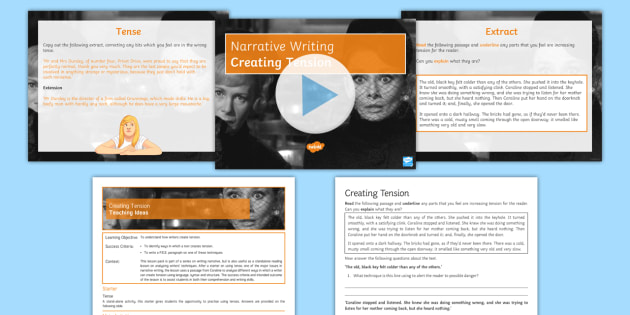 Narrative Writing Lesson Pack 5: Creating Tension Lesson Pack - creative writing, english language GCSE Paper One, 1, story writing, imaginative writing, writing a
