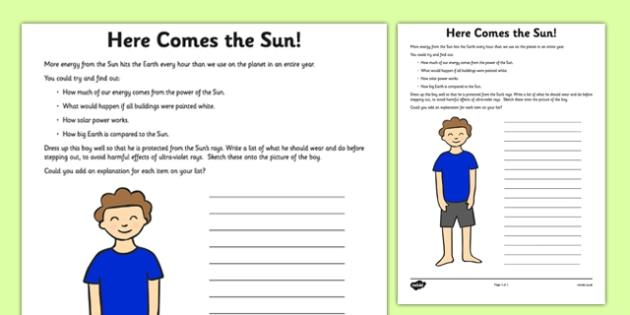 Here Comes the Sun Activity Sheet - sun, safe, safety, here comes the sun, activity, worksheet