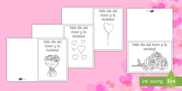 Tarjetas Para Colorear Día De San Valentín Día Del Amor Y La Amistad