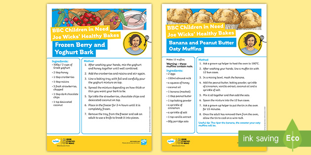 UKS2 BBC Children in Need Joe Wicks' Healthy Bakes Recipes