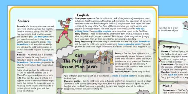The Pied Piper Lesson Plan Ideas KS1 - pied piper, lesson plan, ideas