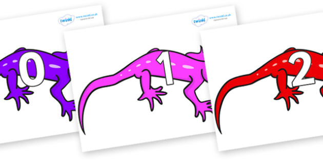 Numbers 0-50 on Geckos - 0-50, foundation stage numeracy, Number recognition, Number flashcards, counting, number frieze, Display numbers, number posters