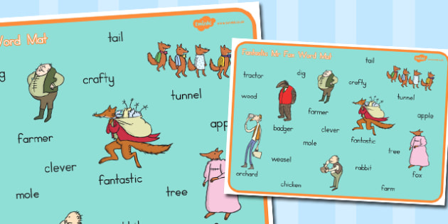 Word Mat to Support Teaching on Fantastic Mr. Fox - australia, fantastic mr fox, word mat
