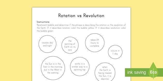 Earth rotation vs revolution worksheet activity sheet space earth rotation vs revolution worksheet activity sheet space earth earth and space ccuart Choice Image