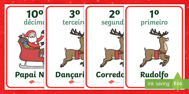 Cartazes De Numeros Ordinais Do Treno Do Papai Noel