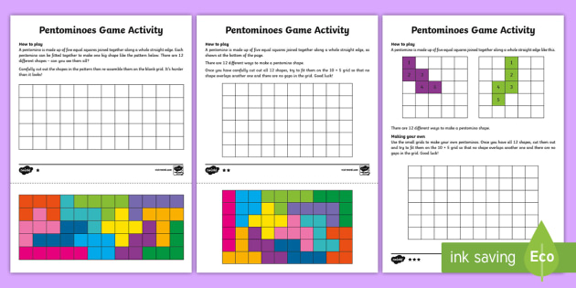 graphic about Pentominoes Printable called Pentominoes Differentiated Worksheet / Worksheets - form