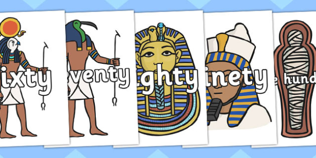 Multiples of Ten to One Hundred on Ancient Egyptian Pictures