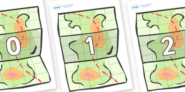 Numbers 0-31 on Maps - 0-31, foundation stage numeracy, Number recognition, Number flashcards, counting, number frieze, Display numbers, number posters