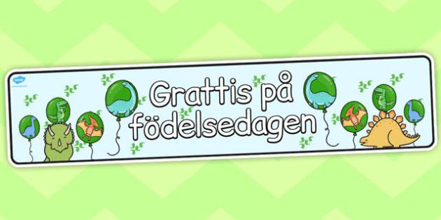 Swedish Happy Birthday Display Banner Dinosaur Themed - swedish