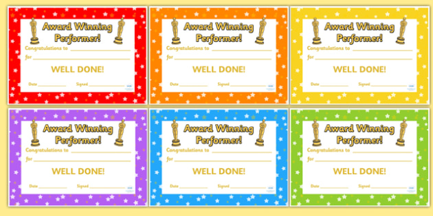 Award Winning Performance Certificates