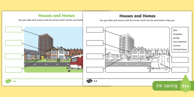 Houses and Homes Labelling Differentiated Worksheet / Activity Sheet Pack, worksheet