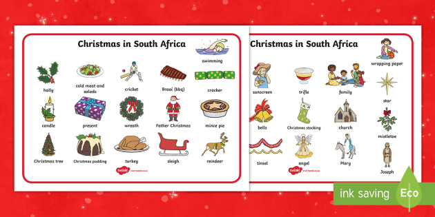 christmas in south africa word mat word mat vocab summer christmas - Christmas In South Africa